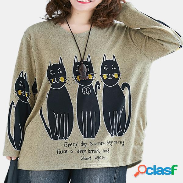 Blusa de manga comprida com estampa gato
