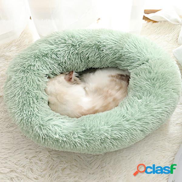 Bodiseint modern soft cama redonda de pelúcia para gatos ou cães pequenos, mini-cama de tamanho médio para cães e gatos autoaquecimento outono inverno interior snooze sleeping cozy kitty tedd