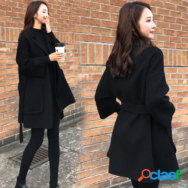 Casaco de lã de caxemira preto de dupla face e seção curta