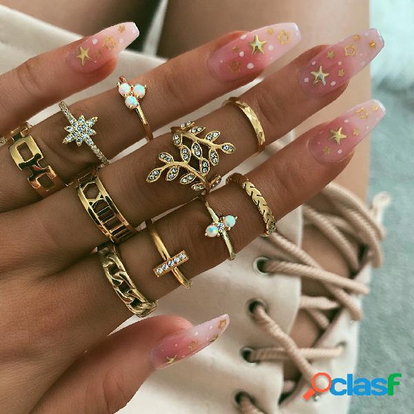 Diamante oco de metal do vintage folha anéis estrela geométrica rhinestone inlay ring set trendy jewelry