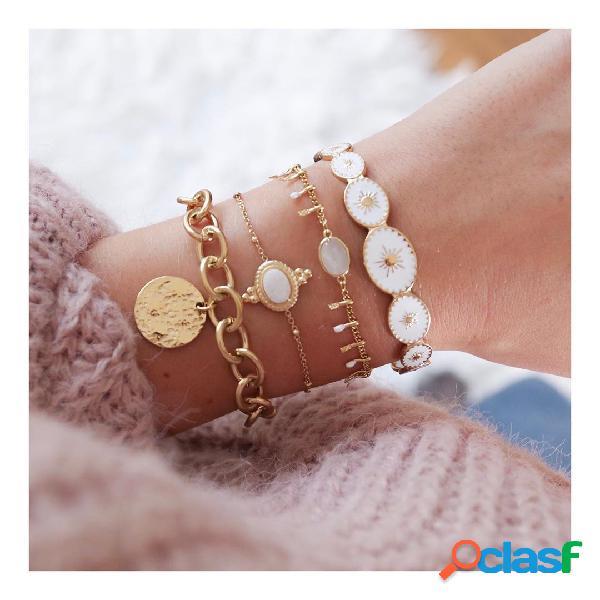Disco geométrico na moda pingente pulseira de corrente pulseira de metal branco crystal tassel bracelet jóias chiques