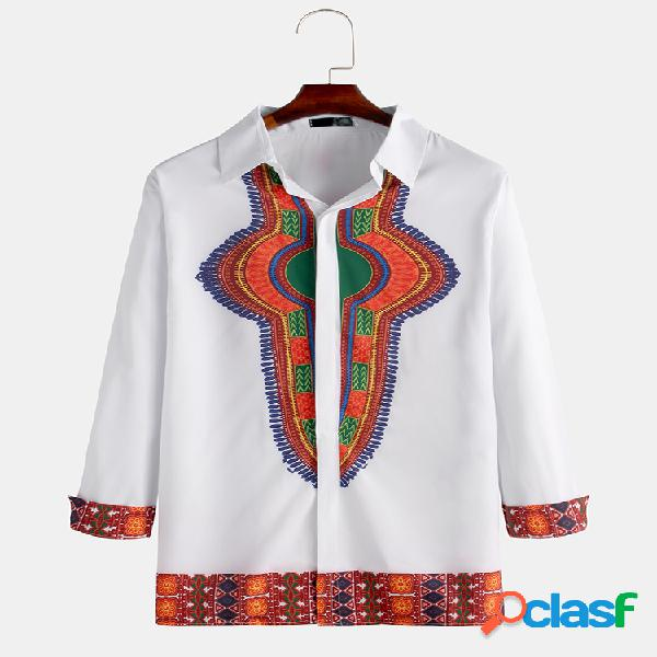 Mens estilo étnico africano impressão patchwork manga comprida slim fit camisas mid-long