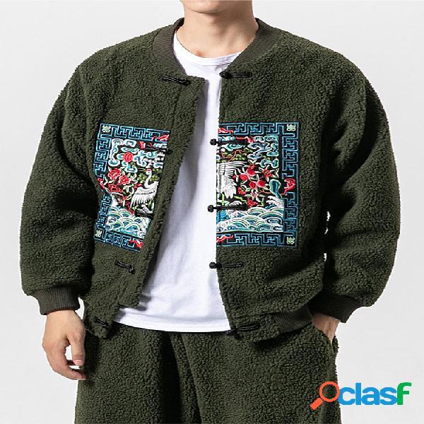 Mens moda estilo chinês impressão manga comprida polar fleece zipper jacket