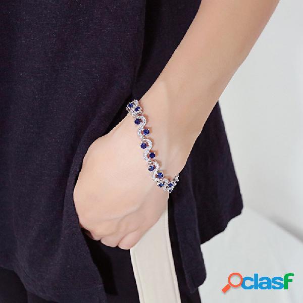 Pulseira irregular geométrica vintage temperamento azul zircão bracelete banhado a platina