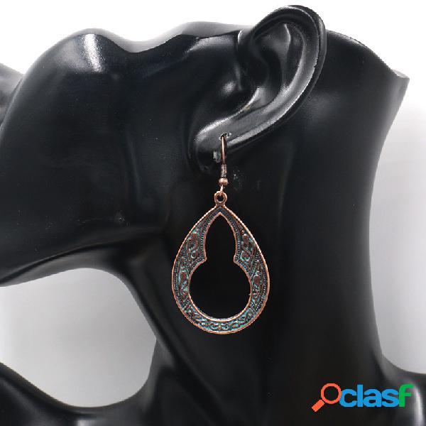 Cabaça oval geométrica do vintage brincos gota de água de metal oco pingente brincos jóias étnicas
