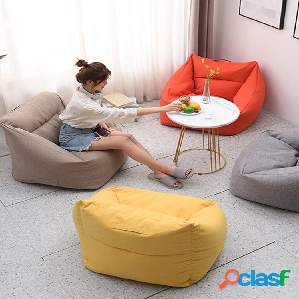 Cor sólida square big bean bolsa cobre a cadeira yellow bean bolsa cadeira com bolso para lar adulto