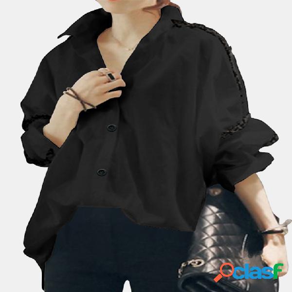 Manga comprida camisa turn down collar patchwork blusa solta