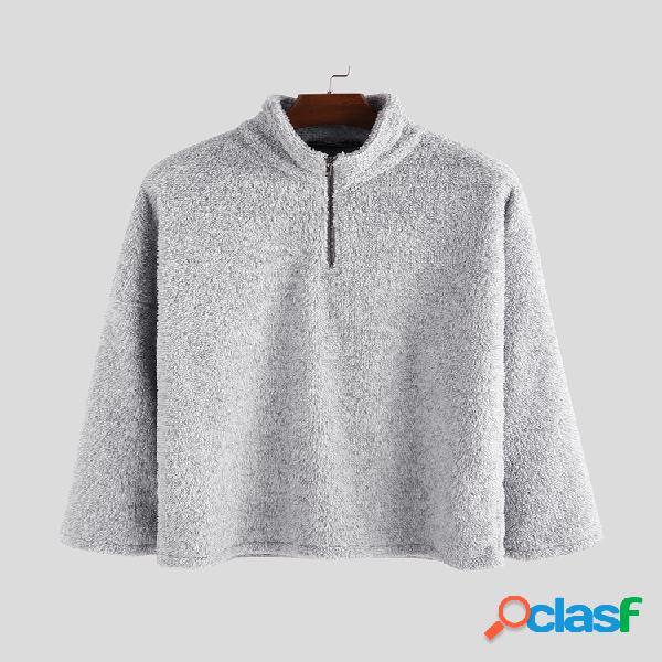 Mens inverno velo duplo quente solto manga comprida zipper camisolas