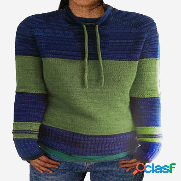 Suéter de manga comprida com gola alta e gola alta com cordão