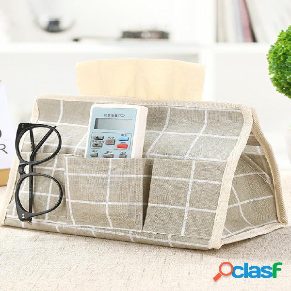 Tecido de linho de algodão caixa controle remoto armazenamento caixa tecido criativo para sala de estar e mesa de trabalho