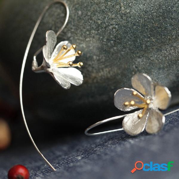 Vintage s925 sterling silver pingente brincos geométrica estereoscópica flor borla longa brincos