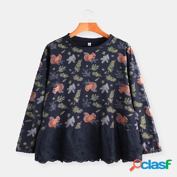 Bordado floral lace patchwork manga comprida plus blusa de tamanho