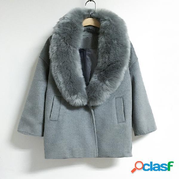 Casaco de caxemira solto tamanho grande gola de pele grande casaco de lã