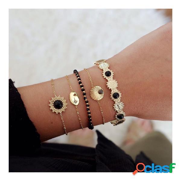 Flor geométrica do sol preto vintage pingente conjunto pulseira de miçangas artesanal de metal