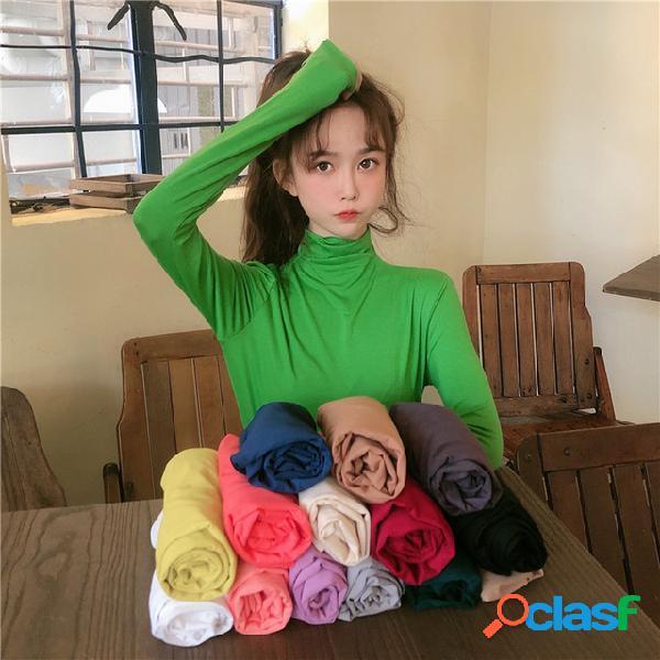 Wild high collar cor sólida simples manga comprida assentamento camisa t-shirt 15 cores