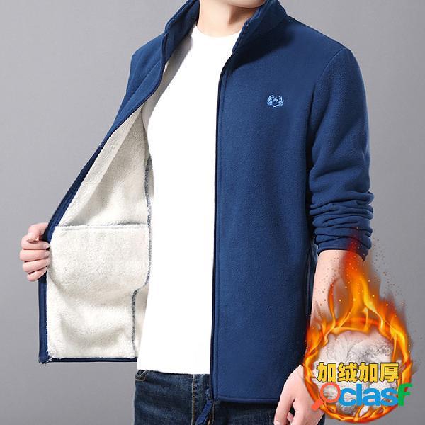 Camisola de lã dos homens camisola plus casaco de forro de lã