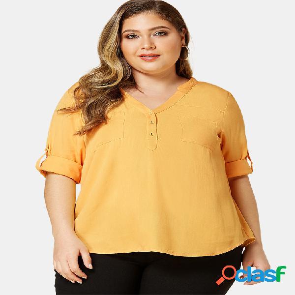 Casual solid color decote em v manga comprida plus blusa de tamanho