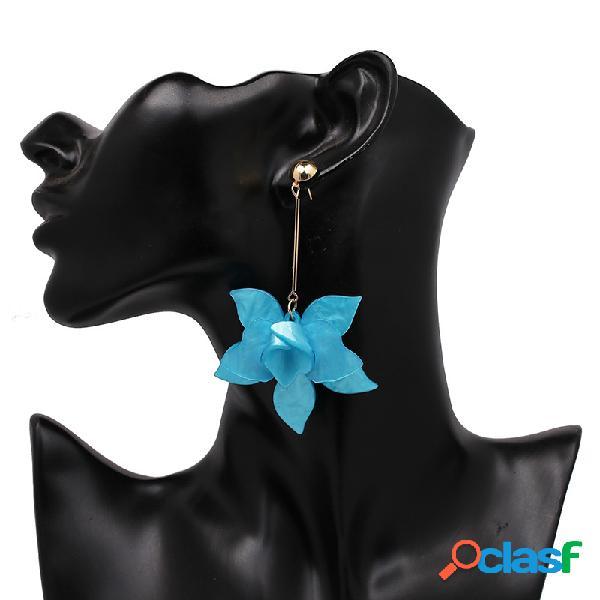Flor estereoscópica de resina vintage brincos flor geométrica pingente brincos jóias boêmia