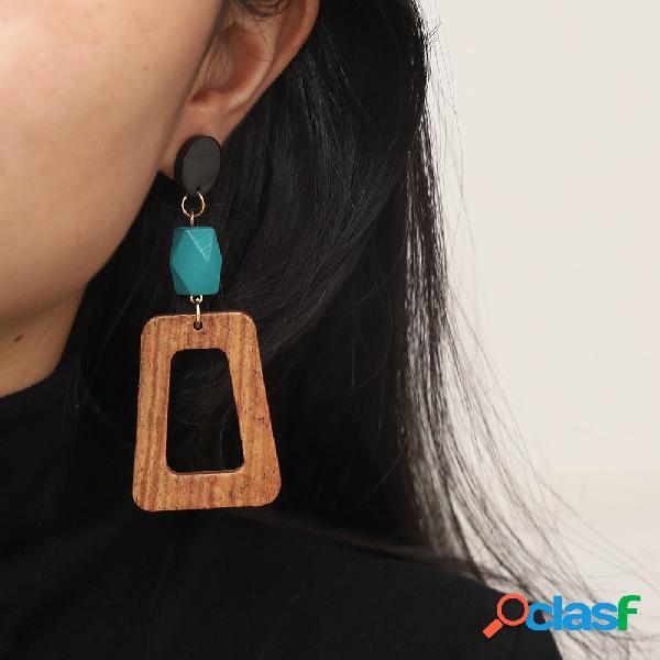 Parafuso prisioneiro de madeira nórdico vintage brincos madeira oca geométrica pingente long orelha drop
