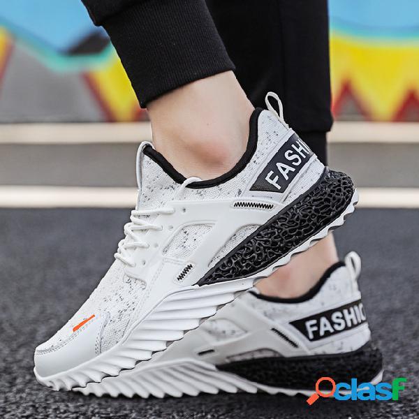 Sapatos masculinos nova temporada malha respirável sapatos esportivos casuais tênis de absorção de choque tênis de maré selvagem homens