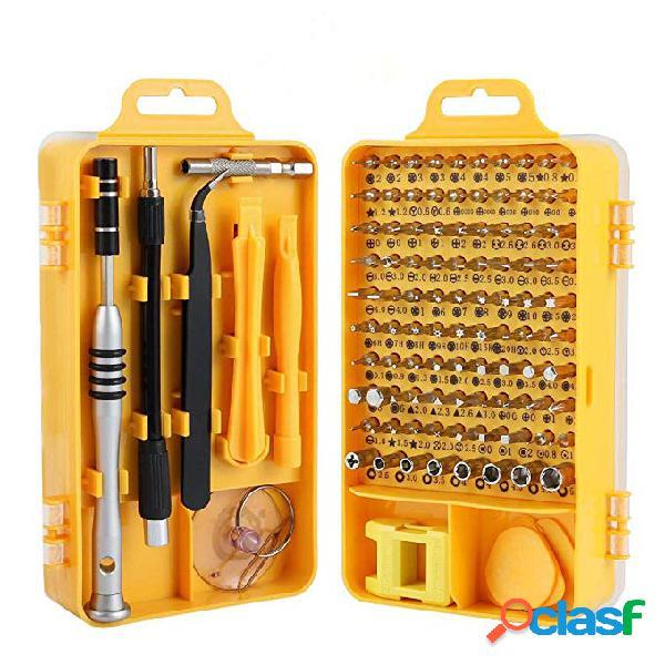 110 em 1 chave de fenda definida com kits de bits magnéticos de pinça ferramentas de reparo de eletrônicos de telefone