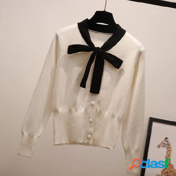 Arco camisola cardigan mulheres manga comprida cintura alta seção curta fora leve malha para mulher