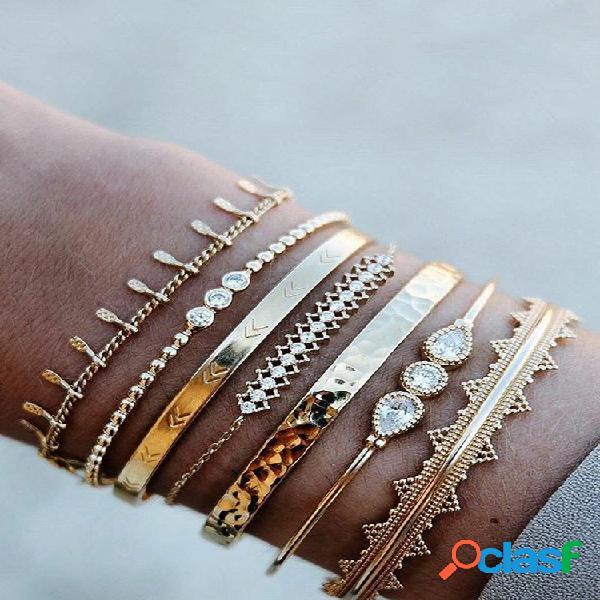 Conjunto de pulseira de miçangas vintage gota de água geométrica diamante abertura borla pingente pulseira de corrente
