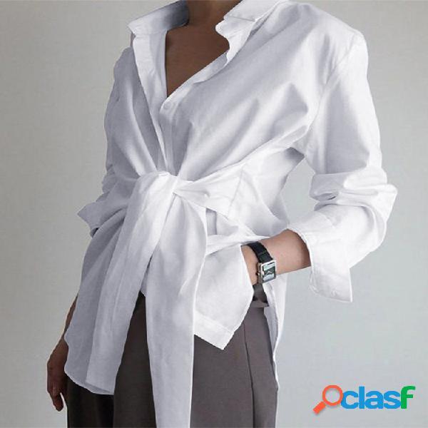 Cor sólida envoltório lapela manga longa camisa para mulheres