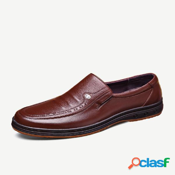 Homens classic soft sapatos de couro casual negócios antiderrapantes
