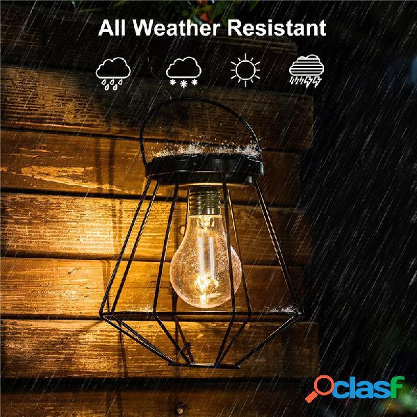 Solar powered vintage led lanterna pendurada luz ao ar livre jardim quintal lâmpada jardim ao ar livre luzes
