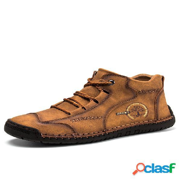 Botas de couro menico masculino vintage costura à mão soft