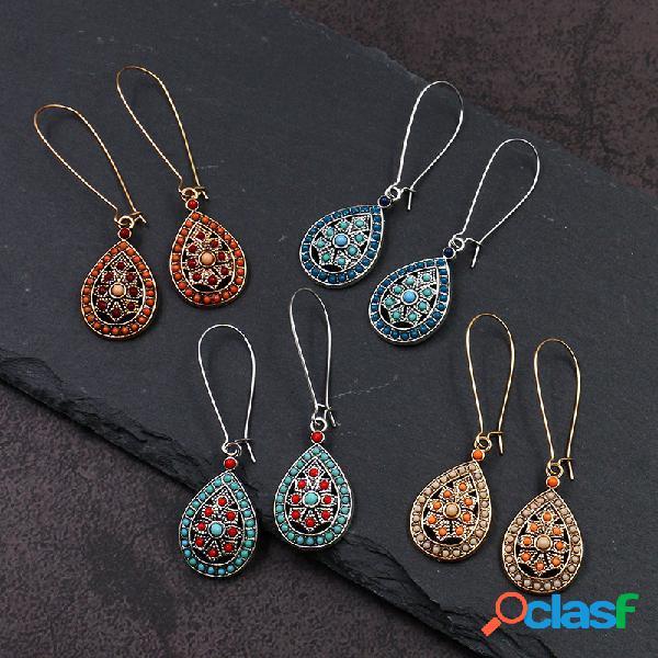 Gota d'água geométrica étnica longa brincos contas de metal pingente tassel brincos joias vintage
