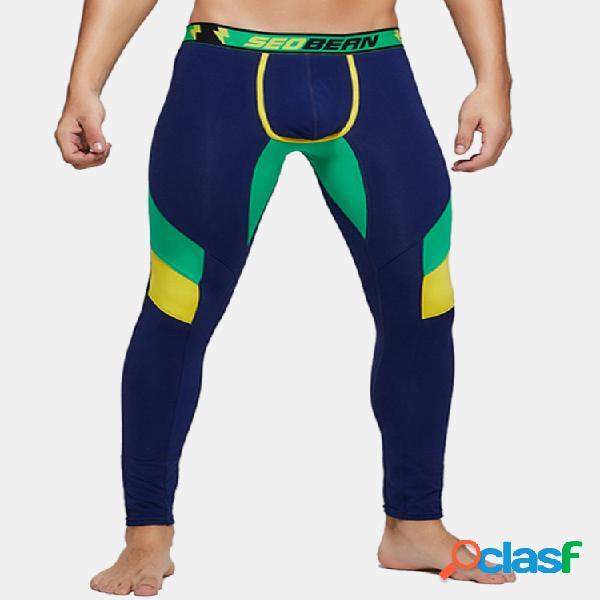 Masculino emagrecer algodão respirável long johns color block colorful cuecas slim confortáveis