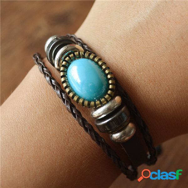 Pulseira de várias camadas de couro com miçangas vintage geométrica turquesa pingente pulseira de cera corda
