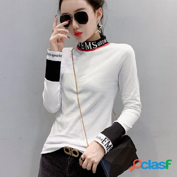 T-shirt de mangas compridas carta de linha de costura magro meia gola alta corpo estranho assentamento camisa
