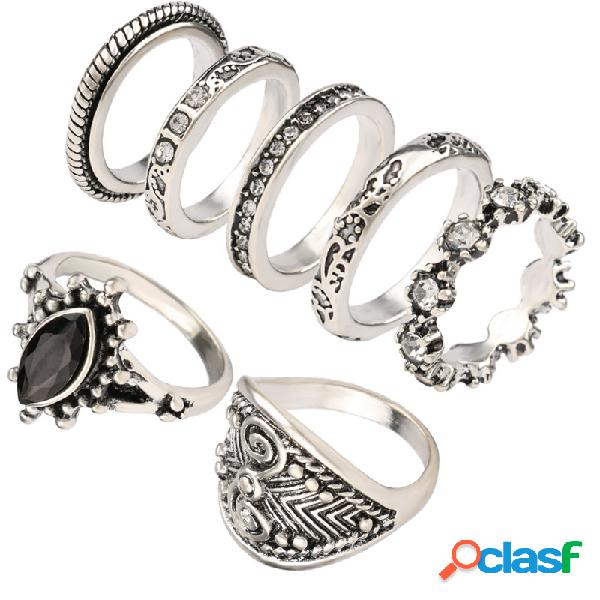 Anel de dedo do vintage conjunto de metal geométrica strass olhos de gato anéis anéis de totem estereoscópicos