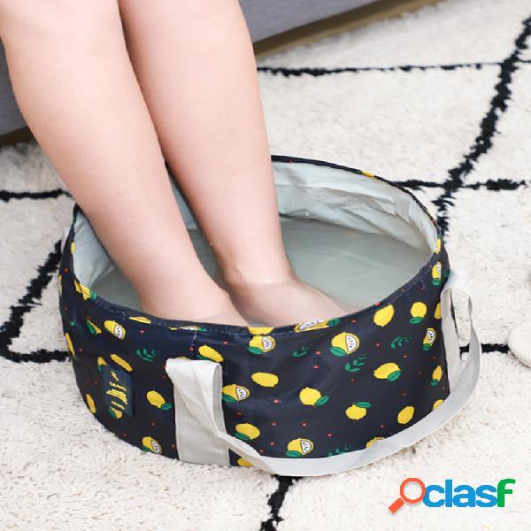 Balde dobrável portátil para impressão de limão travel foam bolsa washbasin travel wash balde