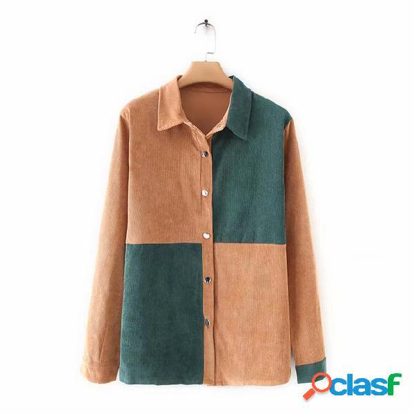 De veludo de algodão de lapela para mulher camisa