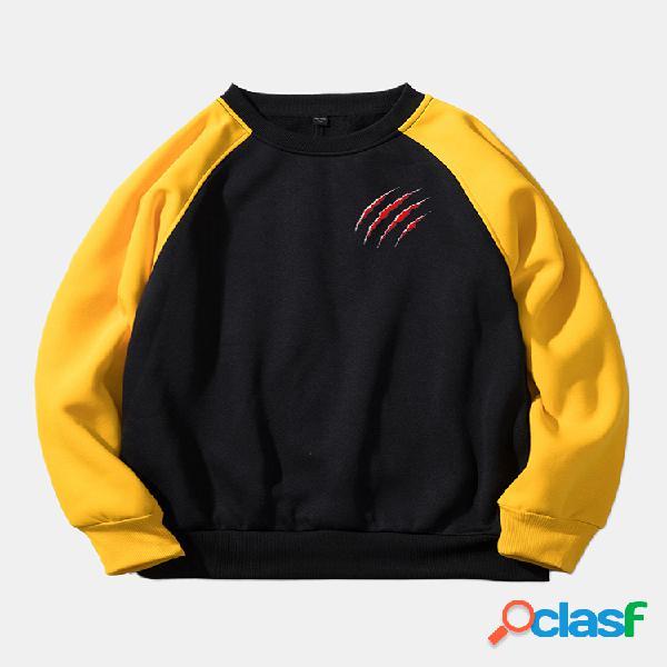 Mens patchwork gola redonda manga comprida casual solta hoodies