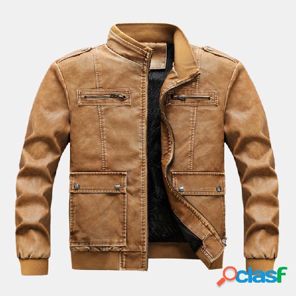Mens velo de couro forrado casacos quentes manga comprida slim fit jaquetas de couro