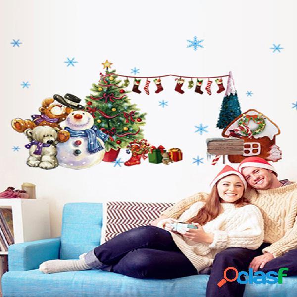 Miico abq6006 adesivo de natal ar parede stickes removível para decoração de festa de natal