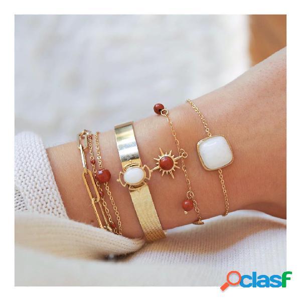 Quadrado geométrico do vintage pingente conjunto de pulseira de corrente pulseira de metal vermelho bead tassel multicamada