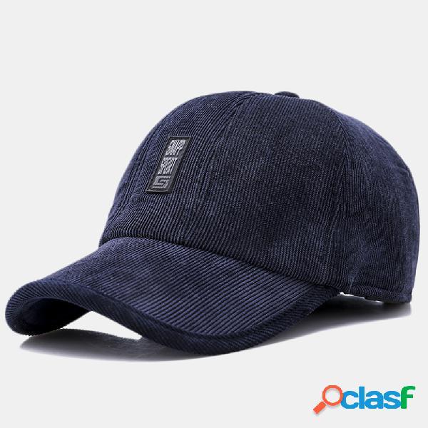 Boné de beisebol de veludo casual para homens orelha proteção acolchoada na língua quente chapéu