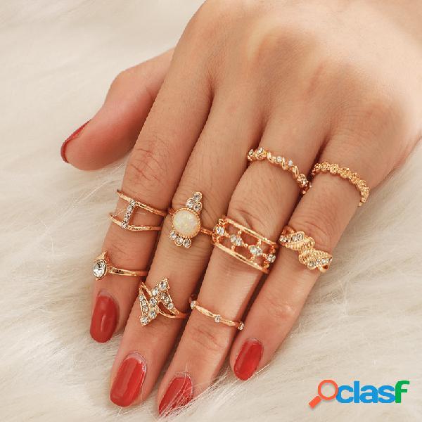 Conjunto de anéis de opala de temperamento vintage anéis de strass oco de metal geométrico