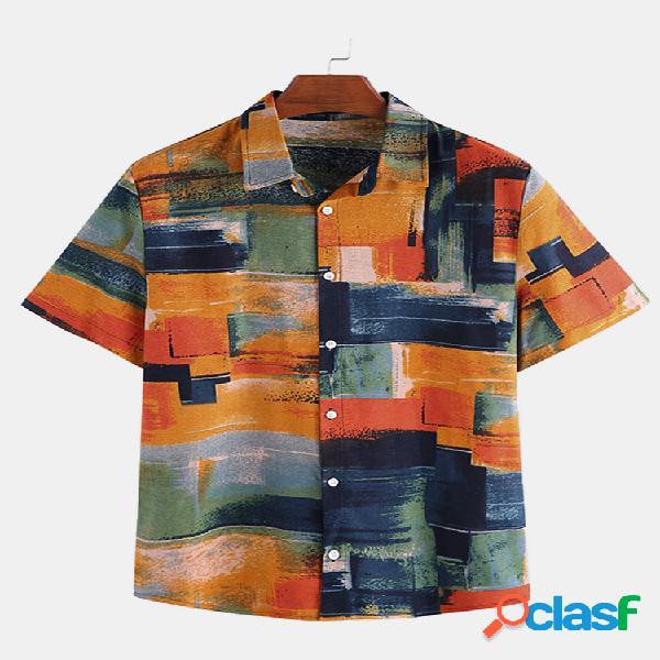 Homem algodão linho colorful graffiti impresso manga curta camisa