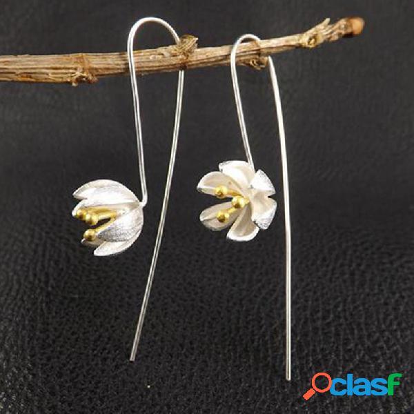 Temperamento em prata esterlina s925 do vintage pingente brincos flor estereoscópica geométrica brincos