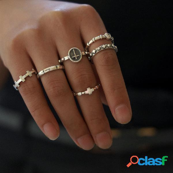 Anel de cruz geométrica vintage conjunto pêssego de metal coração anel ajustável de abertura