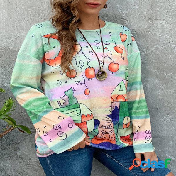 Blusa de malha com estampa de algodão de manga comprida tamanho plus