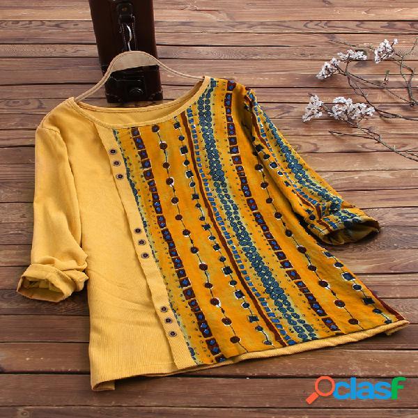 Blusa de manga comprida vintage veludo cotelê étnico estampado patchwork