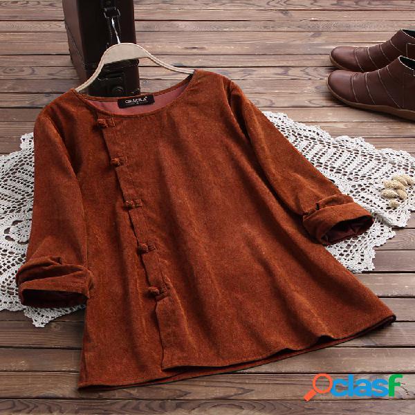 Blusa de veludo cotelê vintage com botões laterais e manga comprida